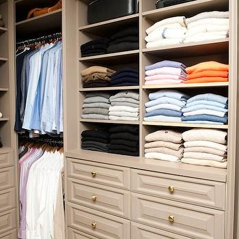 The Coveteur - closets - mens closet, walk-in closet, gray walk-in closet, gray built-ins, built-ins, closet built-ins, taupe closet, mens walk in closet, taupe cabinets, taupe closet cabinets, taupe built ins, taupe built in cabinets,