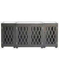Storage Furniture - High Street Market - Juliette Credenza, Antique Black - 3, piece, antique, black, credenza, console, lattice, front,