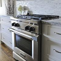 Veranda Interiors - kitchens - kitchen hardwood floors, shaker cabinets, white shaker cabinets, white kitchen cabinets, marble countertops, mosaic tiles, mosaic tile backsplash, mosaic backsplash, mosaic marble tile, mosaic marble tile backsplash, mosaic marble backsplash tiles,