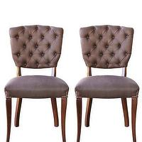 Seating - High Street Market - Vintage Pair of Side Chairs - chocolate, linen, vintage, side, chairs, diamond, tufted,