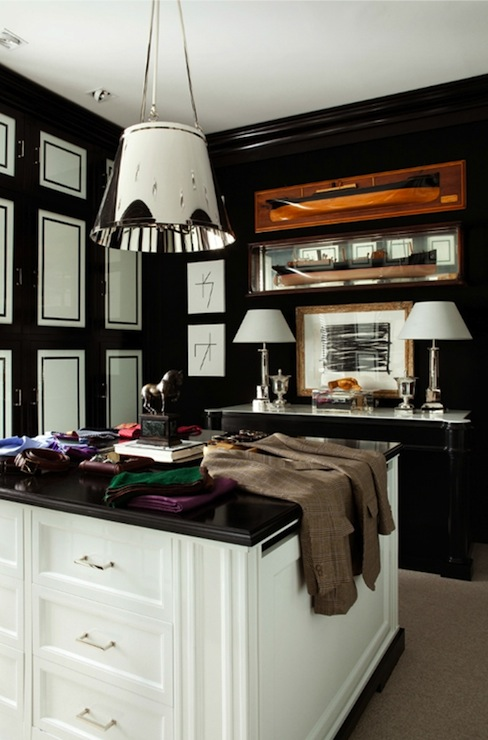 Black And White Walk In Closet Contemporary Closet