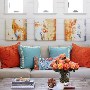 Turquoise and Orange Living Room, Cottage, living room, Tracery Interiors