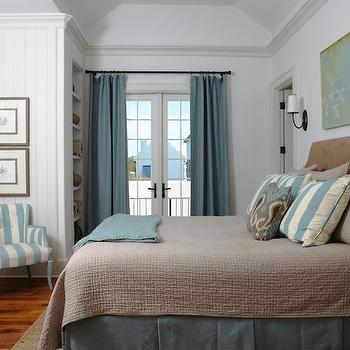 Brown and Blue Bedroom, Cottage, bedroom, Tracery Interiors
