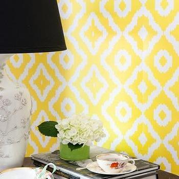 Wallpaper - Mimosa Yellow Geometric Wallpaper - Graham & Brown - electric, yellow, ikat, wallpaper, geometric,
