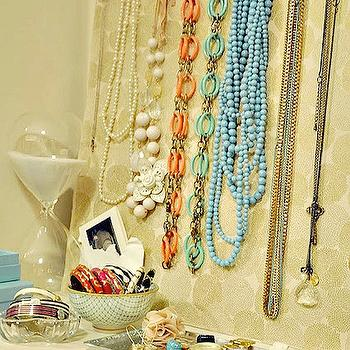 Honey We're Home - closets - vignette, closet vignette, glass hourglass, jewelry board, silver tray, Tiffany's, Tiffany blue, jewelry holders,