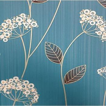 Teal Blue Floral Wallpaper, Graham & Brown