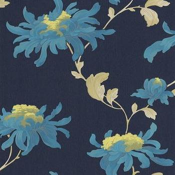 Wallpaper - Midnight Blue Floral Wallpaper - Graham & Brown - midnight, blue, teal, floral, wallpaper,