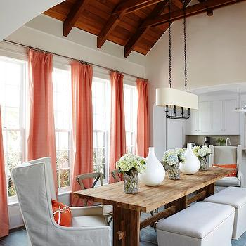 Salmon Pink Curtains, Cottage, dining room, Tracery Interiors