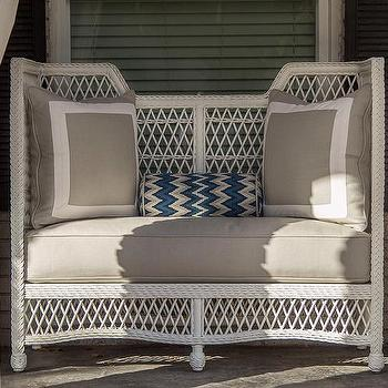EJ Interiors - porches - patio furniture, pillows, chevron pattern, drapery, chevron pillows, blue chevron pillow, white and blue chevron pillow,