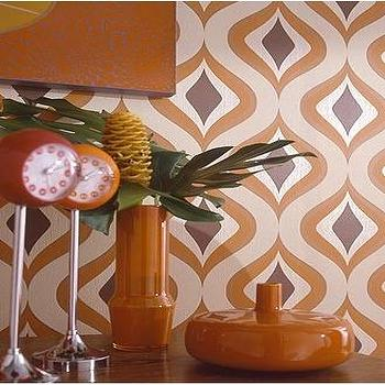 Wallpaper - Trippy Wallpaper - Graham & Brown - retro, wallpaper, vintage, orange, metallic, geometric,