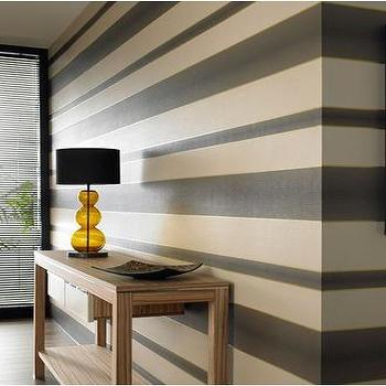 Chocolate, Cream, Gold Stripe Wallpaper, Graham & Brown