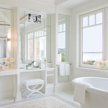 Built In TV Panel, Cottage, bathroom, Ali Schwarz Design Group