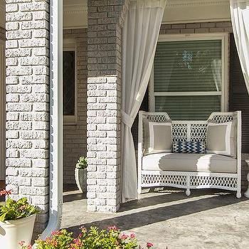 EJ Interiors - porches - patio furniture, drapery, plants, porch bench, white and gray bench, white and gray porch bench,  Front porch design