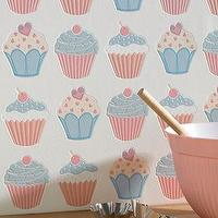 Wallpaper - Cupcake Wallpaper Pink - Graham & Brown - textured, pink, baby, blue, cupcake, wallpaper,