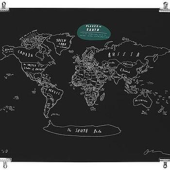 Art/Wall Decor - PLACES ON EARTH - OLIVER JEFFERS | UncommonGoods - black, globe, print, art, map,
