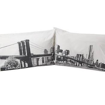 Pillows - BROOKLYN BRIDGE PILLOW CASE SET |UncommonGoods - NYC, Brooklyn, pillow, case, black, white, cotton,