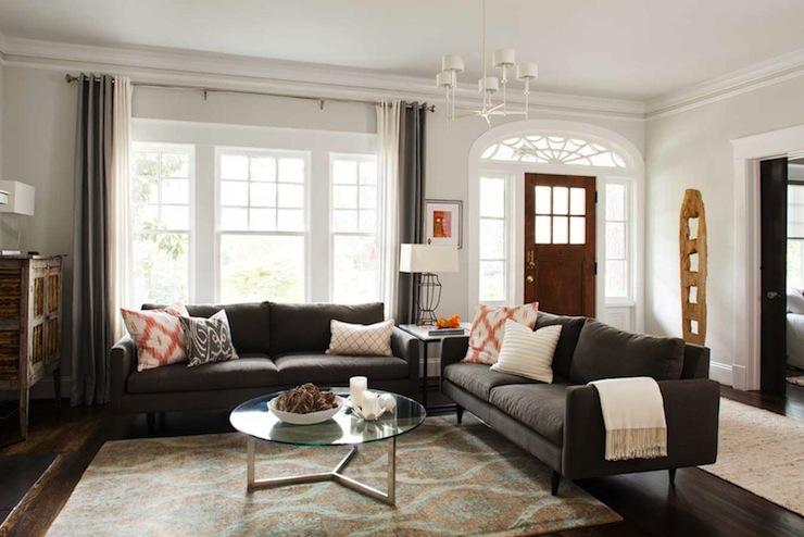 Charcoal Gray Sofas Contemporary Living Room