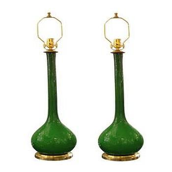 Lighting - Pair of long stem green glass Venetian lamps - John Salibello - long, stem, glass, green, Venetian, lamps, vintage,