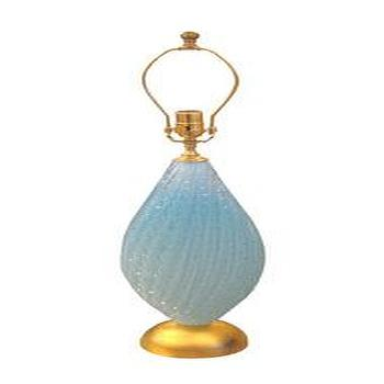 Lighting - Single blue Murano glass fluted table lamp - John Salibello - blue, glass, Murano, fluted, lamp, vintage,