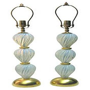 Pair Of Spherical Mercury Glass Lamps John Salibello