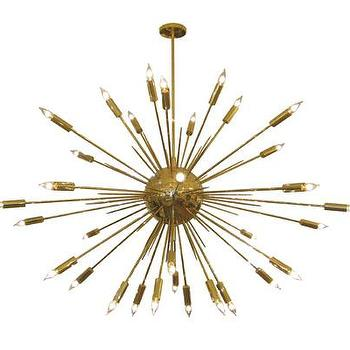 Lighting - Large brass sputnik style chandelier - John Salibello - brass, sputnik, vintage, chandelier,