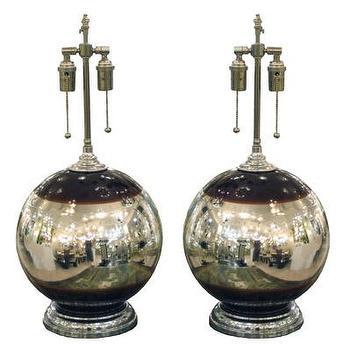 Pair of spherical mercury glass lamps, John Salibello