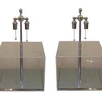 Lighting - Pair of clear Lucite table lamps - John Salibello - clear, pair, lucite, table, lamps, nickel, hardware, vintage,