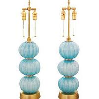 Lighting - Pair turquoise spherical lamps with brass details - John Salibello - turquoise, pair, table, lamps, brass, spherical, vintage,