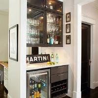 TerraCotta Properties - kitchens - butlers pantry, black cabinetry, glass-front cabinetry, bar, mini-fridge, glass-front mini fridge, marble countertops, eased edge, eased edge, countertop, black door, bar nook, bar niche, mini fridge,
