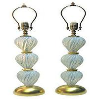 Lighting - Pair of opalescent glass table lamps - John Salibello - opalescent, glass, table, lamps, Murano,