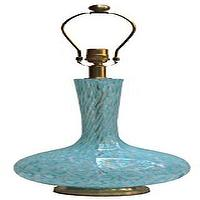 Lighting - Single Murano bulb form blue glass table lamp - John Salibello - glass, bulb, form, table, lamp, Murano, vintage,