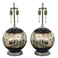 Lighting - Pair of spherical mercury glass lamps - John Salibello - pair, spherical, mercury, glass, table, lamps, vintage,