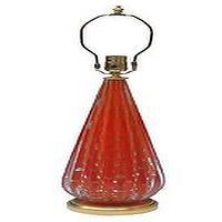 Lighting - Single Murano glass table lamp - John Salibello - red, gold, glass, Murano, table, lamp, vintage,
