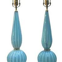 Lighting - Pair of Murano blue and opaque table lamps - John Salibello - blue, opaque, glass, Murano, table, lamps,