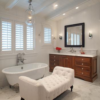 White Tufted Settee, Transitional, bathroom, Anne Sneed Architectural Interiors
