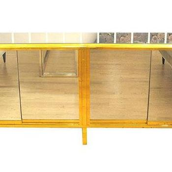 Tables - Long brass and mirror console - John Salibello - brass, mirror, console, table,
