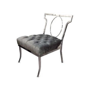 Seating - Single Klismos form slipper chair - John Salibello - klismos, slipper, chair, nickel, gray, tufted, pewter, velvet,