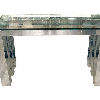 Tables - Polished aluminum console - John Salibello - polished, aluminum, console, table, glass,