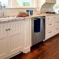 Farinelli Construction - kitchens - hidden towel rack, hidden, towel rack cabinet, towel rack drawer, white corbels, granite countertops, modern faucet, kitchen hardwood floors, inset cabinets, white inset cabinets, beadboard backsplash, white beadboard backsplash, subway tiles, subway tile backsplash, dishwasher, polar cream granite, polar cream granite countertops, pull out rack towel rack, pull out towel cabinet, pull out towel rack cabinet, towel rack, hidden towel rack,