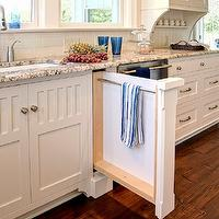 Farinelli Construction - kitchens - hidden towel rack, hidden, towel rack cabinet, towel rack drawer, white corbels, granite countertops, modern faucet, kitchen hardwood floors, inset cabinets, white inset cabinets, beadboard backsplash, white beadboard backsplash, subway tiles, subway tile backsplash, polar cream granite, polar cream granite countertops, pull out rack towel rack, pull out towel cabinet, pull out towel rack cabinet, towel rack, hidden towel rack,