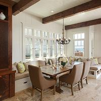 Anne Sneed Architectural Interiors - kitchens - rustic wood beams, white wood paneling, white wood panels, white wood panel ceiling, built-in banquette, trestle dining table, milk chocolate brown dining chairs, swoop arm chairs, brown swoop arm chairs, window seat, tiled floors, kitchen tiles, banquette, dining banquette, built in banquette, built in dining banquette, trina turk pillows, brown dining chairs, window seats, buil tin window seats, window seat storage, wood beams, rustic wood beams, Trina Turk Super Paradise Print - Driftwood,