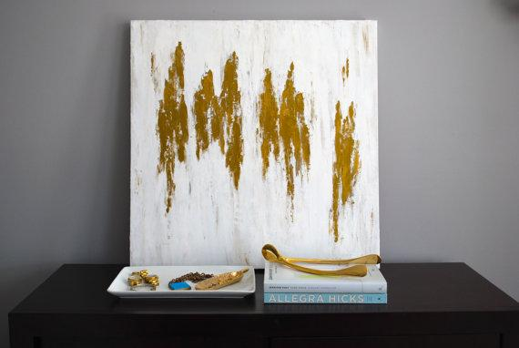 Etsy Gold Wall Decor : White gold abstract i by mshartel on etsy