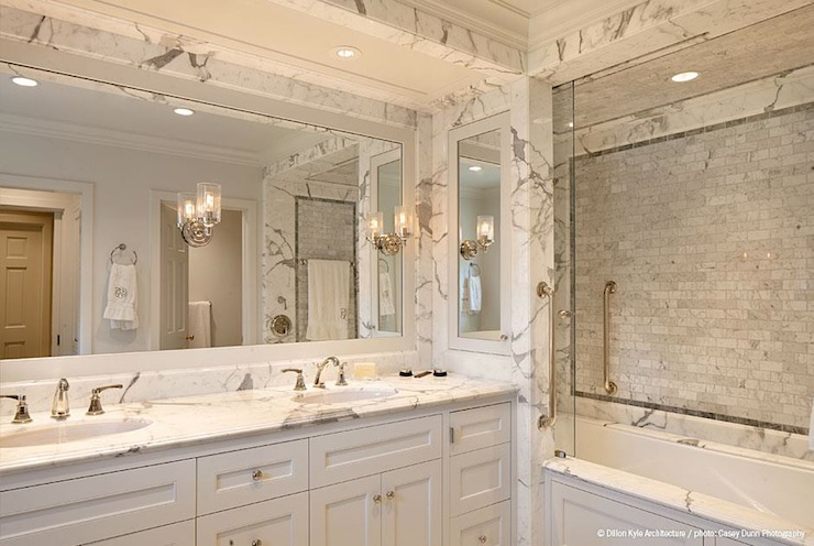 carrara marble shower transitional bathroom dillon kyle