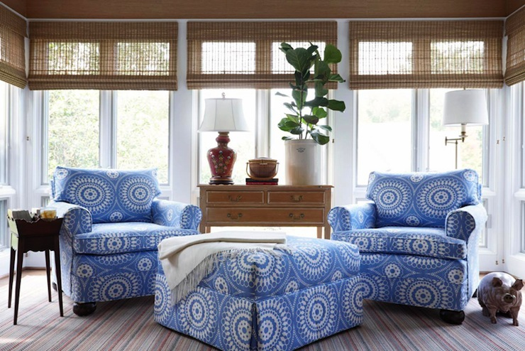 Suellen Gregory - living rooms - sunroom, sun room, floor to ceiling windows, matchstick shades, stripe rug, blue chairs, blue medallion chairs, fiddle leaf fig, metal pig,