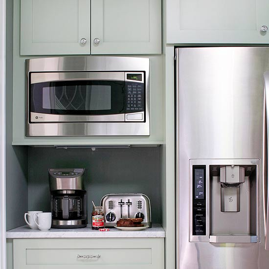 Kitchen coffee station cottage kitchen bhg - Small space microwave photos ...