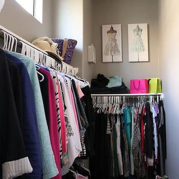 Veronika's Blushing - closets - gray closet, gray paint, gray walls, walk-in closet,  Well organized closet with pale gray wall color and pretty
