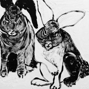 Art/Wall Decor - Rabbit Charcoal Canvas - Mig & Tig - rabbit, black, white, charcoal, art, giclee, canvas,