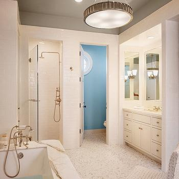 Blue Water Closet, Contemporary, bathroom, Dillon Kyle Architecture