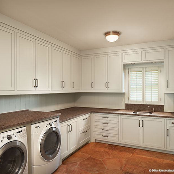 Dillon Kyle Architecture - laundry/mud rooms - shaker cabinets, white shaker cabinets, beadboard backsplash, white beadboard backsplash, cork countertops, wall hooks, cork countertops, laundry room countertops, cork laundry room countertops,
