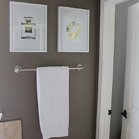 Veronika's Blushing - bathrooms - warm gray paint, warm gray walls, gray bathroom, art gallery, 24 k gold prints, 24k gold art prints, Chanel No. 5 Perfume Bottle 24K Gold, Coco Chain Bracelet 24K Gold,